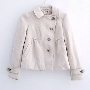 Anthro Leifnotes Cream Button Front Peacoat